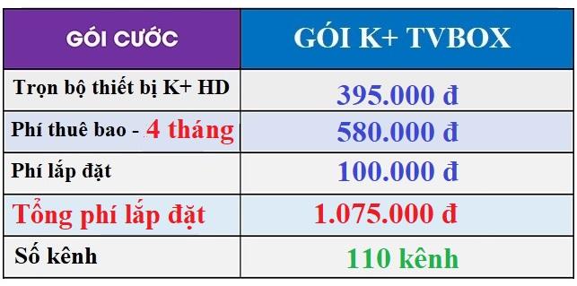 bảng giá lắp k+ tv box tháng 9 - 2020