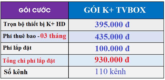 bảng giá lắp k+ tvbox tháng 11-2019