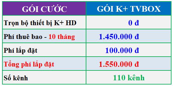 bảng giá lắp k+ với 10 tháng thuê bao