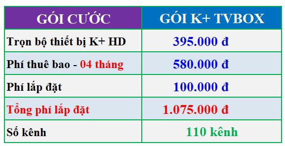 bảng giá lắp K+ tvbox 4 tháng